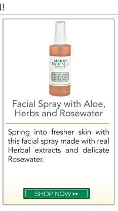 Spring into fresher skin with this facial spray made with real Herbal extracts and delicate Rosewater.