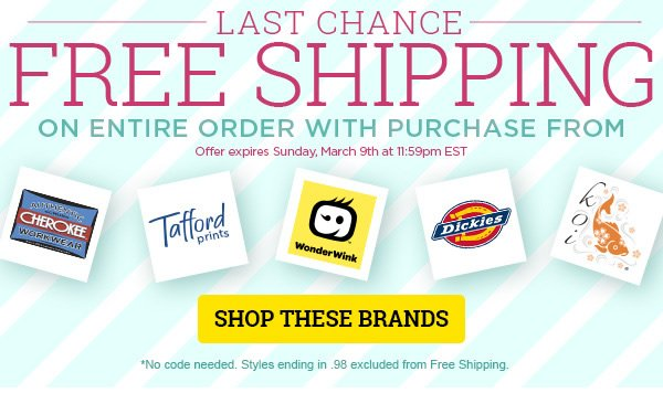 Free Shipping on Select Brands - Shop These Brands