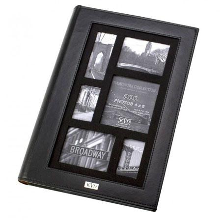 "Adorama - Kleer-Vu Frameworx Collection leatherette Album, BookBound Slip in With Ivory in side lining, For 300 4 x 6"""" Photos 3 Per Page. Color: Black."""