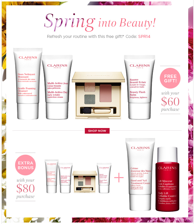 Spring into Beauty! Refresh your routine with this free gift!* Code: SPR14