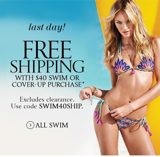 Last Day! Free Shipping With $40 Swim Or Cover-Up Purchase