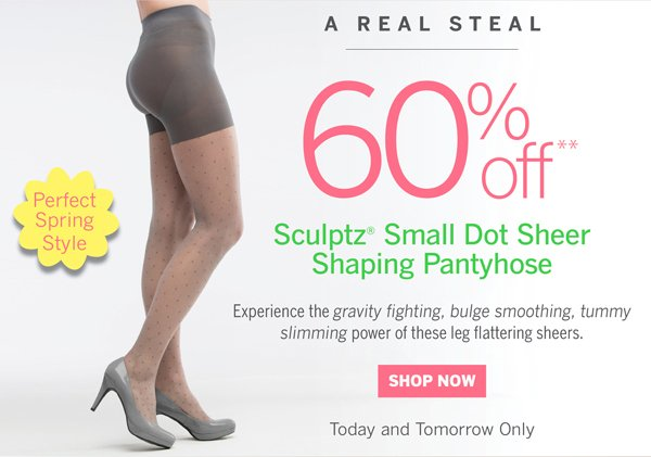 60% off Sculptz Small Dot Sheer Shaping Pantyhose in Grey only.