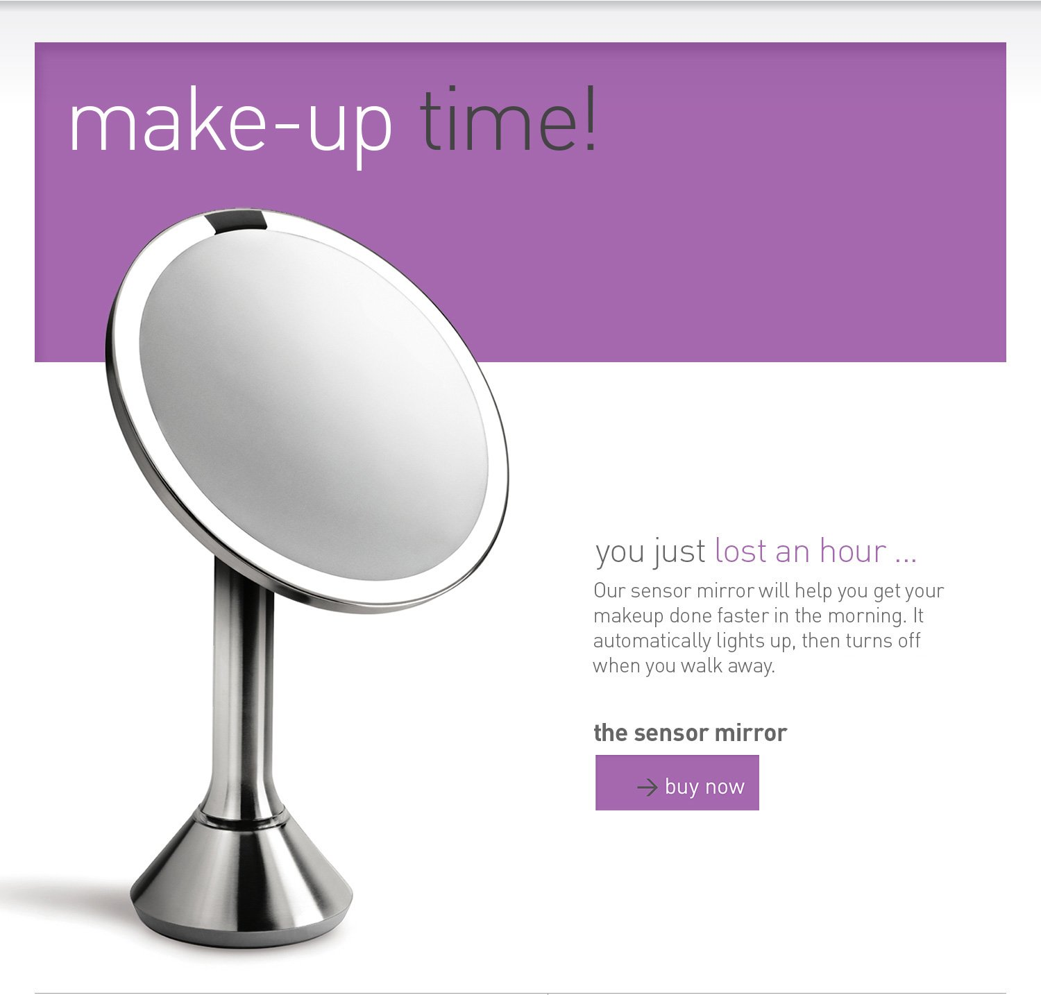 make-up time: sensor mirror