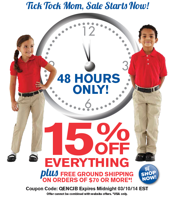48 Hours only. 15% off entire site plus free ground shipping (USA only) on orders of $70 or more. Use Coupon Code QENCJB. Valid through midnight EST 3.10.14.