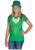 Womens Green Tuxedo Costume T-Shirt