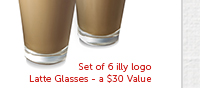 Set of 6 illy logo Latte Glasses — a $30 Value