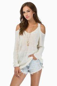 Cold Shoulder Oversized Sweater $43