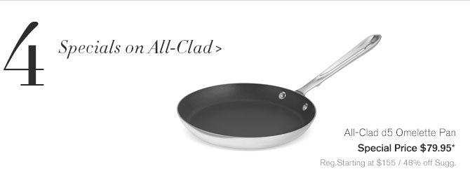 4. Specials on All-Clad - All-Clad d5 Omelette Pan - Special Price $79.95* - Reg.Starting at $155 / 48% off Sugg.