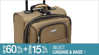Up to 60% off + Extra 15% off Select Luggage & Bags**