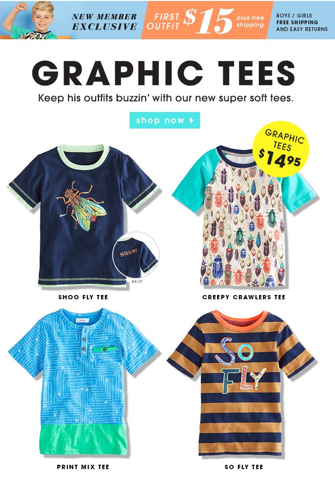 Graphic Tees Starting At $14.95.