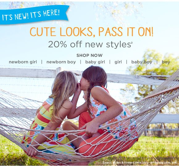 It's new! It's here! Cute looks, pass it on! 20% off new styles(2). Shop Now. Select styles & limited time only. While supplies last.