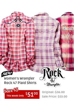 Womens Wrangler Rock 47 Plaid Shirts