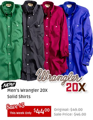 Mens Wrangler 20X Solid Shirts