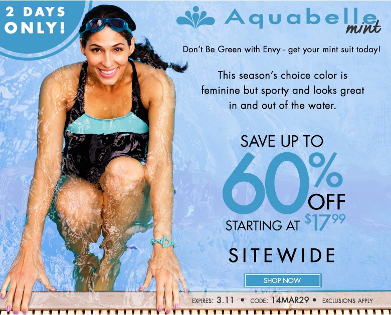 2 Days Only - Aquabelle Mint - save up to 60%