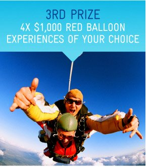 3rd Prize - 4x $1,000 Red Balloon Experiences