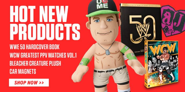 Hot New Items: Bleacher Creatures, Car Magnets, WWE 50 Book, and More!