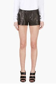 MACKAGE SSENSE EXCLUSIVE Black Leather Ibbie Shorts for women