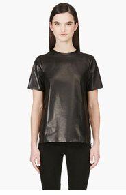 MACKAGE SSENSE EXCLUSIVE Black Leather Ultra Lightweight T-shirt for women