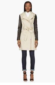 MACKAGE Beige leather-sleeved Avra Trenchcoat for women