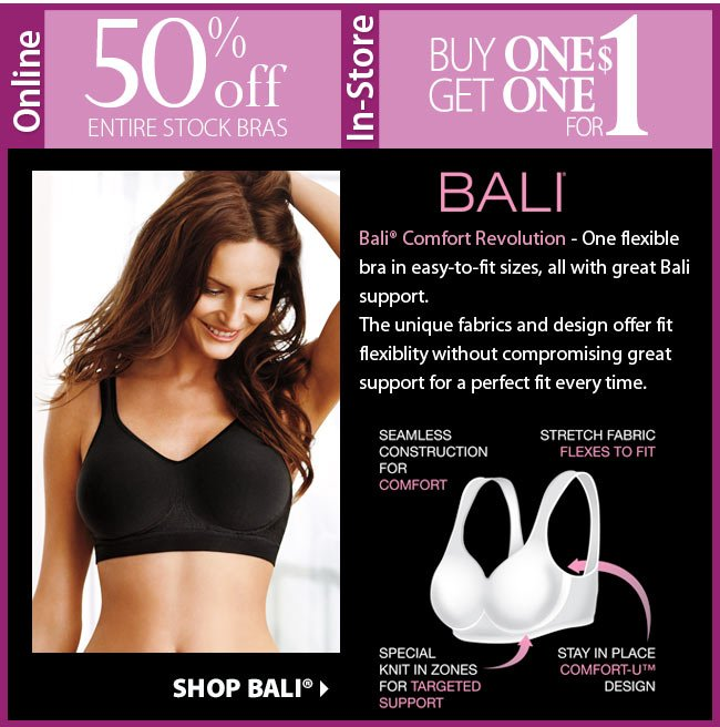 Intimate Sale | Online save 50% | In-store buy one get one for $1 | Shop Bali