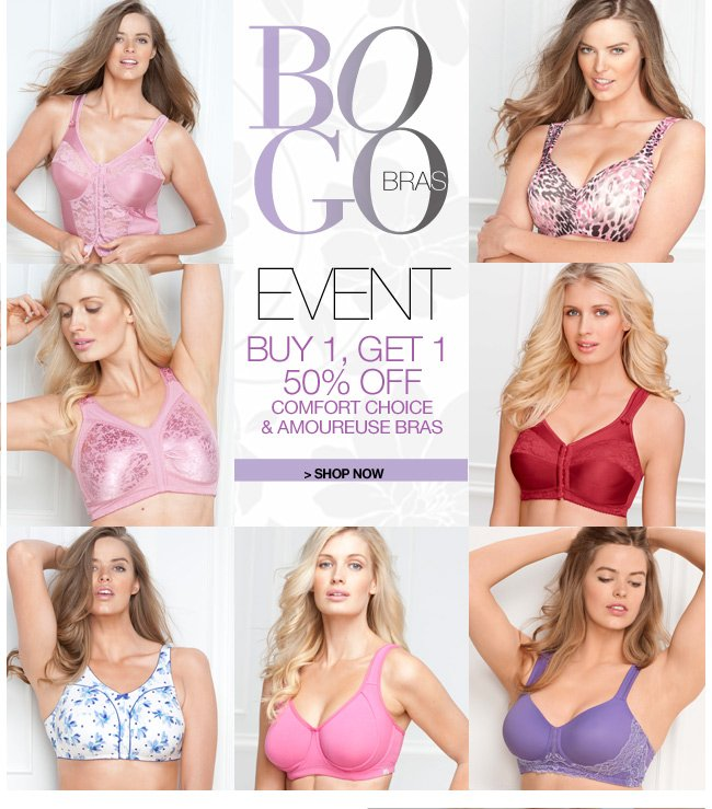 BOGO Bras Event - buy 1, get 1 50 percent off comfort choice and amoureuse bras - shop now