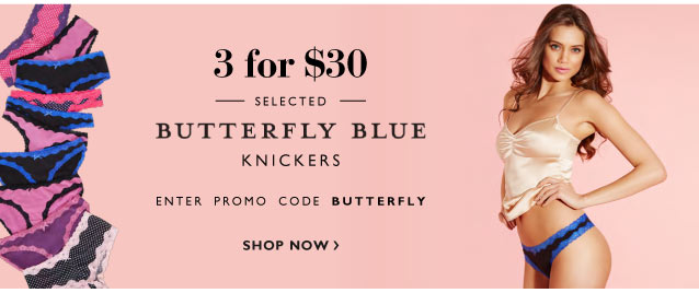 3 for $30 selected Butterfly Blue Knickers
