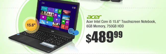 "Acer E1-572P-6403 Intel Core i5 4200U (1.60GHz) 15.6"" Touchscreen Notebook, 6GB Memory, 750GB HDD"