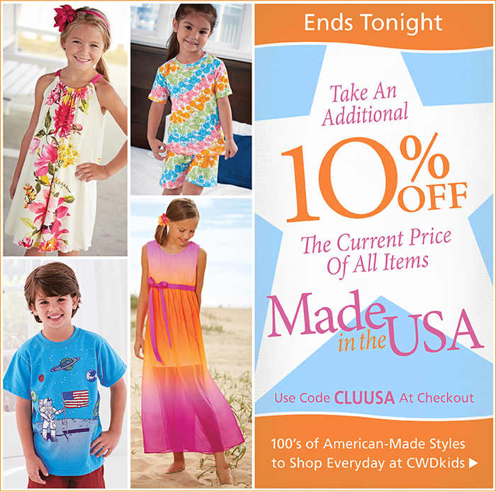 Shop our USA Made Styles with an Extra 10% Off with code CLUUSA at checkout
