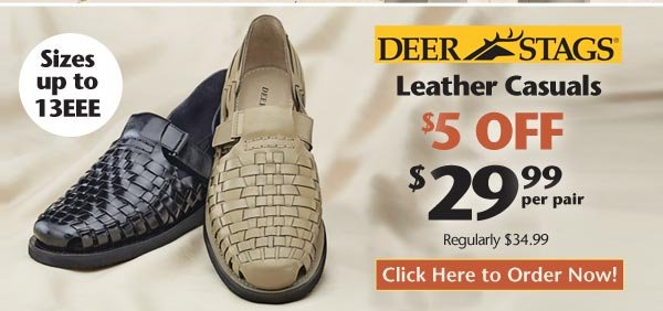 Shop Deer Stag Leather Casuals $29.99 per pair