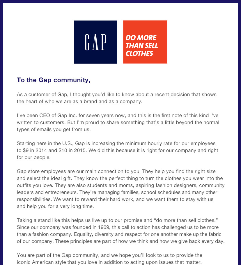 GAP | DO MORE THAN SELL CLOTHES | To the Gap community,