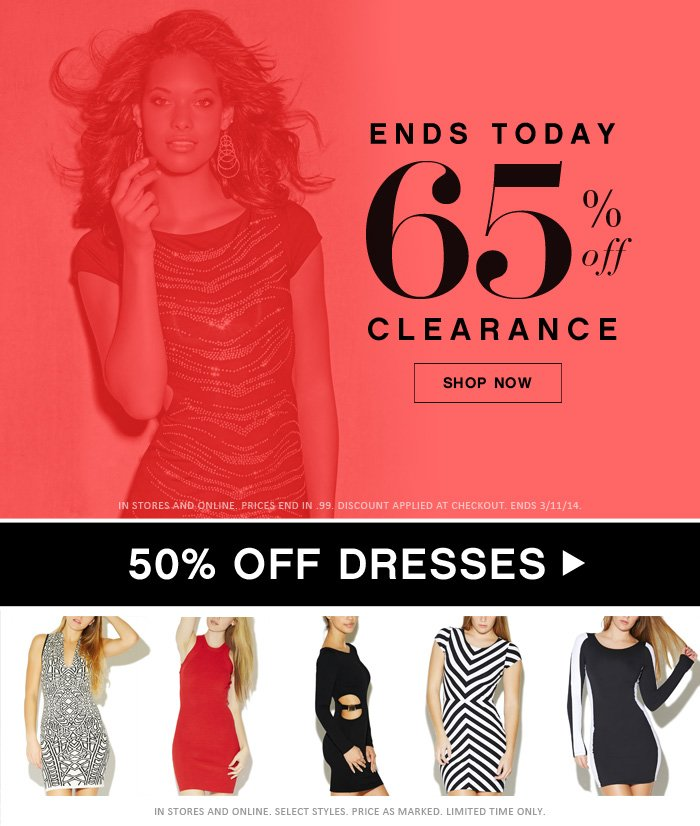 65% Off Clearance Ends Today