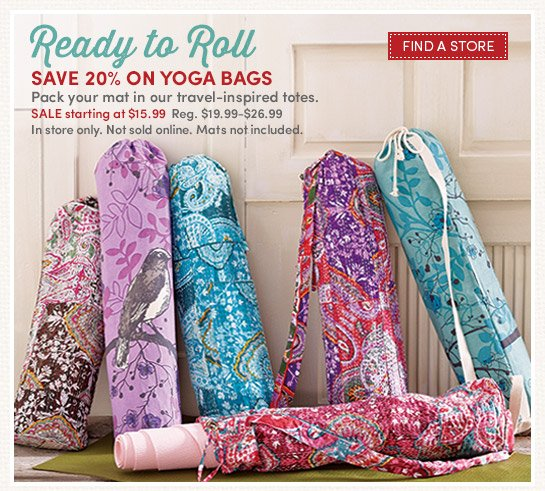 Ready to Roll. 20% on all yoga bags