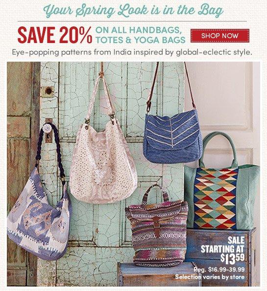 Save 20% on ALL handbags, totes and yoga bags