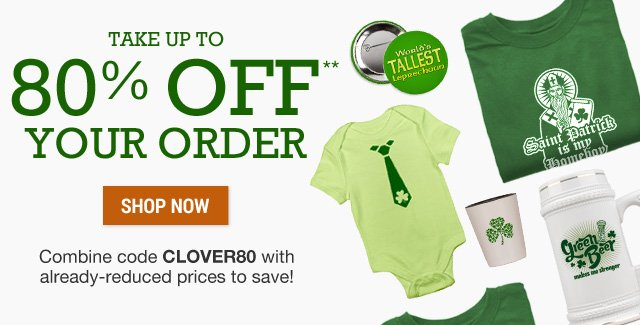 Up to 80% off your order with code CLOVER80