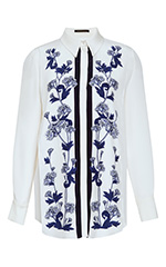 Keres Floral Embroidered Bib Shirt