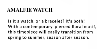 motif, this timepiece will easily transition from spring to summer, season after season.