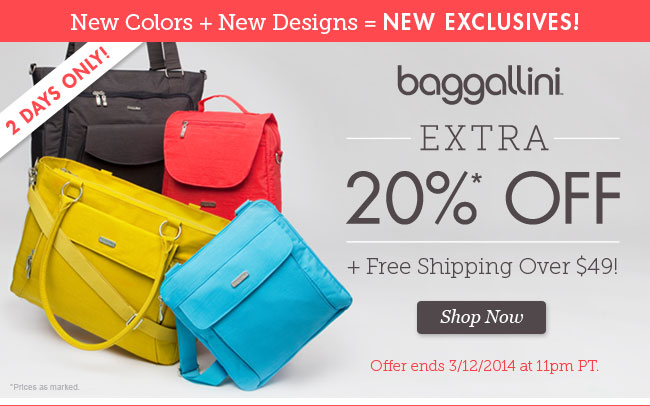 Save an Extra 20% Off bagallini plus Free Shipping Over $49! Shop Now!