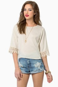 Sophie Crochet Trim Top $30