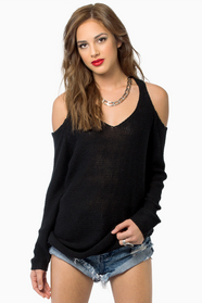 Cold Shoulder Oversized Sweater $43