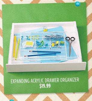 EXPANDING ACRYLIC DRAWER ORGANIZER $19.99 »