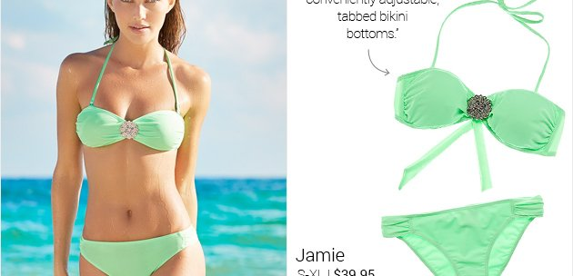 and conveniently adjustable, tabbed bikini bottoms.