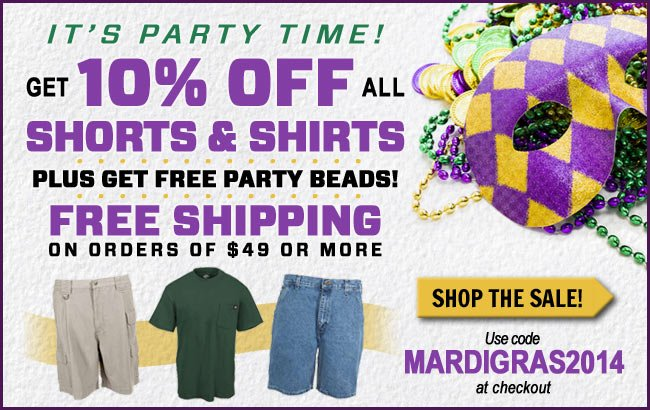 Get 10% Off All Shorts & Shirts + FREE Shipping This Week!