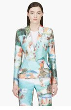 HUSSEIN CHALAYAN Green Pixelated Ribbed Blazer for women