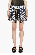 PROENZA SCHOULER Blue & Beige Waffle Chiffon Tie-Front Skirt for women