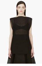 YANG LI Black Sleeveless Silk Blend Sheer Blouse for women