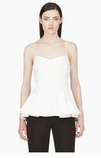 HUSSEIN CHALAYAN White Crepe Peplum Tank Top for women