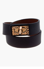 GIVENCHY Black Leather Shark Lock Bracelet for women