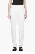 YANG LI Ivory Wool Slim Trousers for women