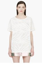 HUSSEIN CHALAYAN White Oversize Cut-Out T-Shirt for women