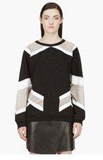 ANNE SOFIE MADSEN Black Mesh-paneled Embossed BLASTER sweatshirt for women